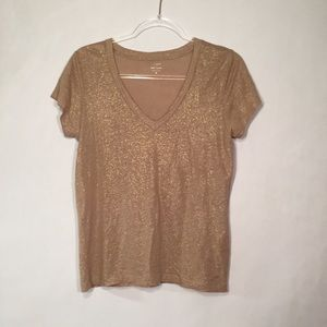 Taupe and gold shimmer J crew tee